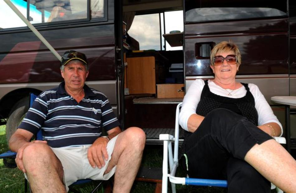 John and Collen Butler, of Riversdale, relax outside their mobile home at the races. Photos by...