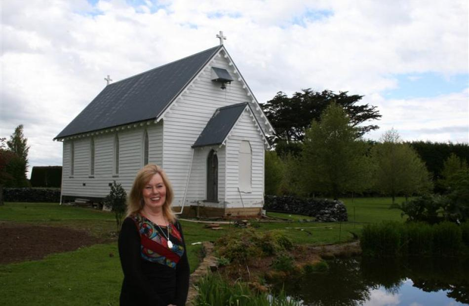 Annie Close is proud of the newly created pond at St Mary's Anglican Church, at Waianiwa,...
