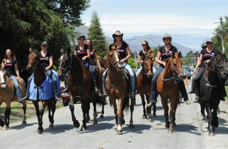 Women from High Country Horses arrive on horseback to compete and spectate.  Photos by Linda...