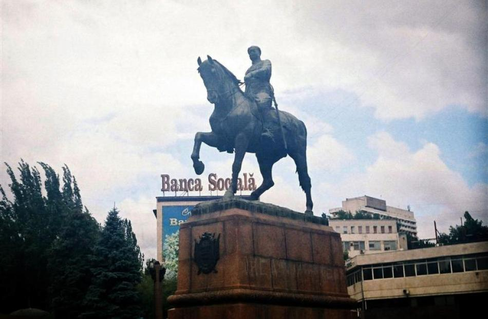 A statue of Russian general Alexander  Suvorov on his horse.