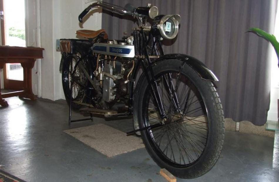 Allan Budge's 1923 Douglas motorbike is displayed at the South Otago Museum in Balclutha.