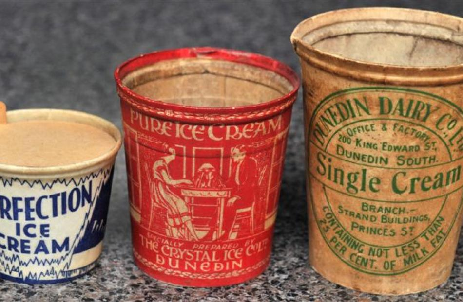 Cardboard icecream containers from the 1940s and 1950s are in remarkable condition. Photos by...