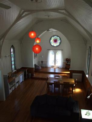Looking down into the nave from the main bedroom.