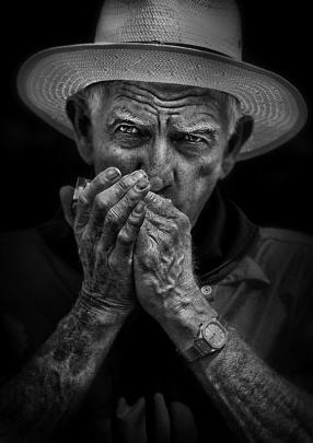Open Projected Images Best Portrait:  Dean Fearn, Hokitika  'Harmonica Man #2'