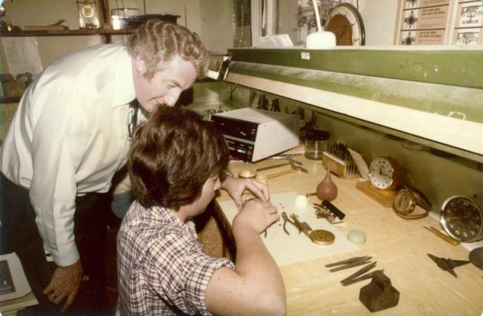 Keith Weatherall shows a young Brent the tricks of the trade in the workshop of Weatherall's...