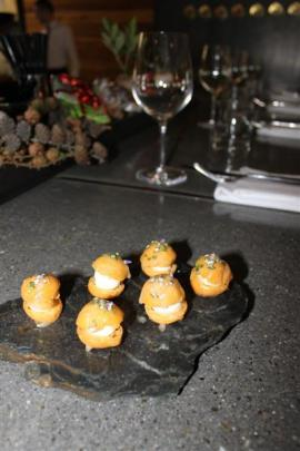Rata's Goat Cheese Profiteroles with Rata Blossom Honey. Photo by Tracey Roxburgh.