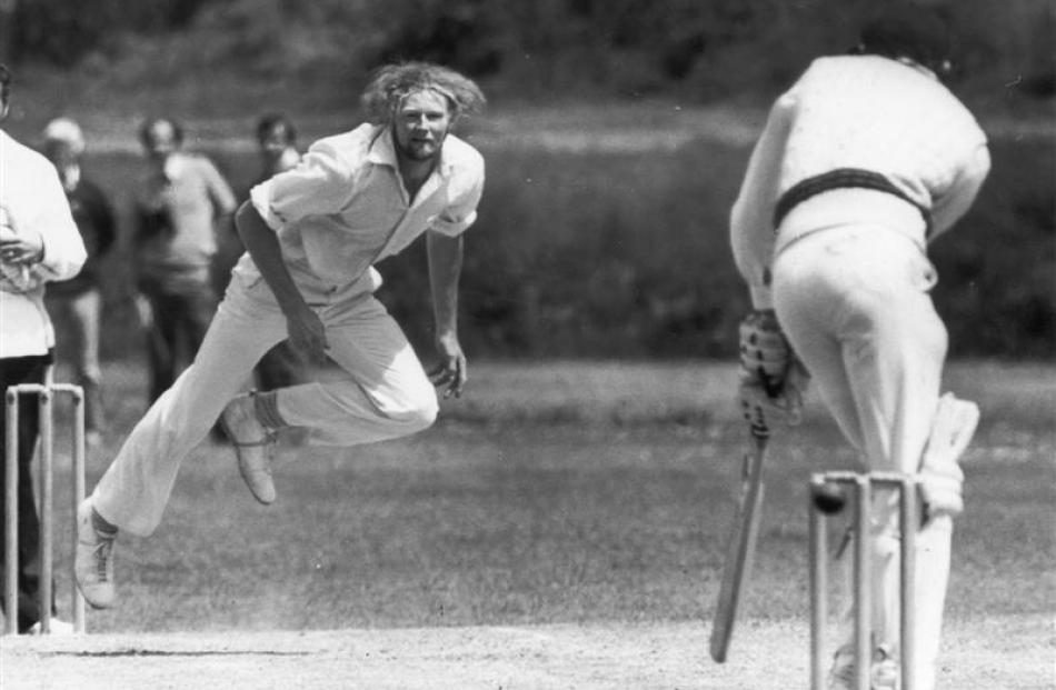 Murray Webb slips a delivery down leg during an Otago trial in 1980. Photo from ODT files.
