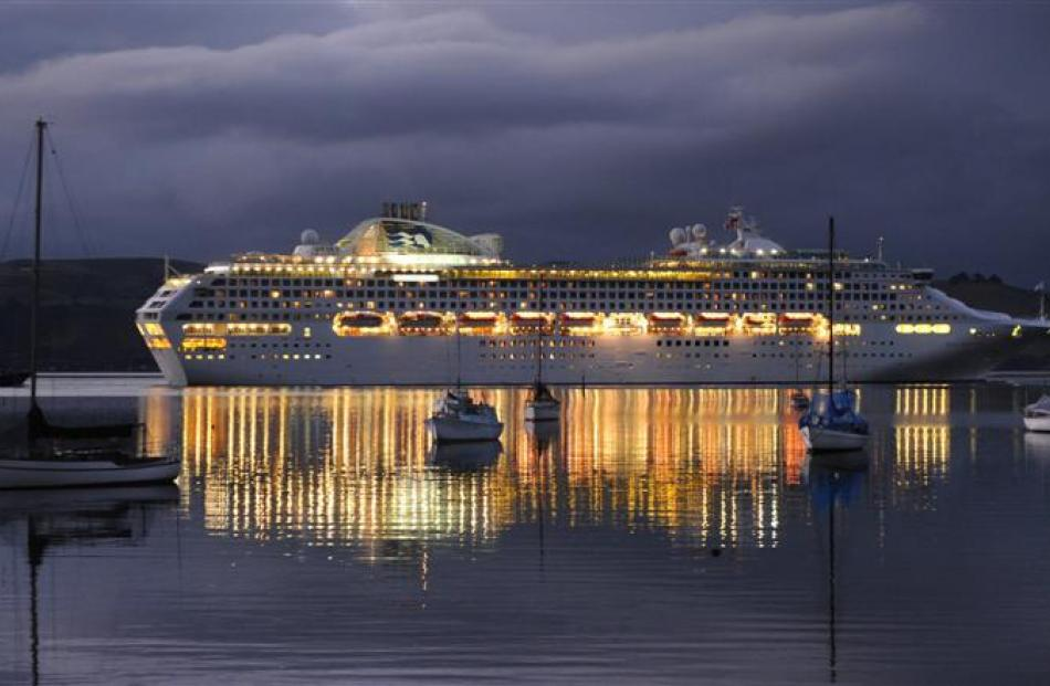 Sea Princess, the last of  last season's cruise ships, glides past Deborah Bay in April with her...