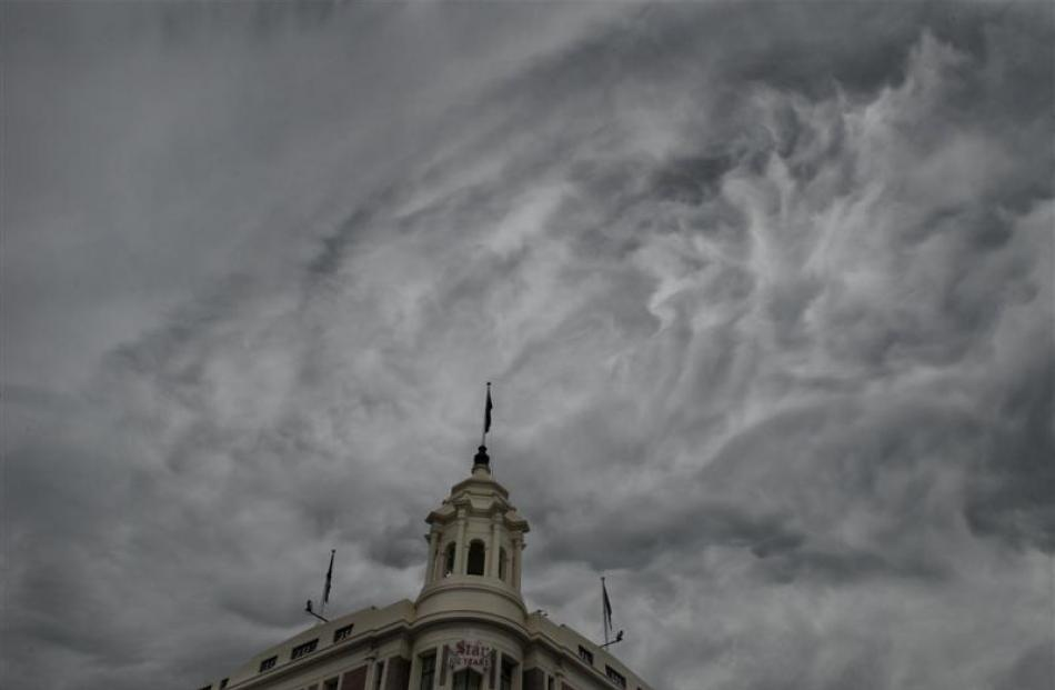 Unusual clouds form over the Allied Press building.  Photo by Stephen Jaquiery.