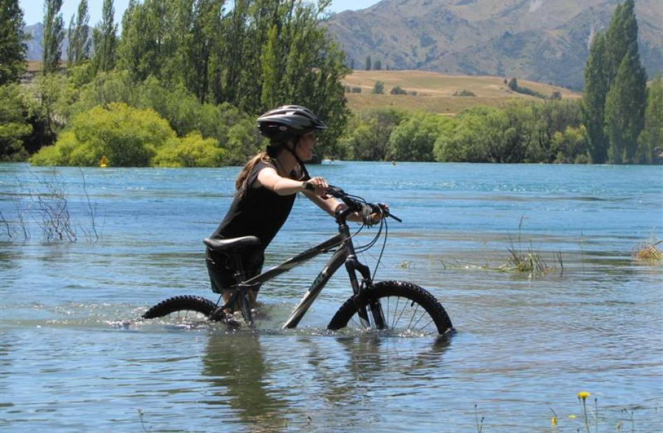Annabel Marshall (13), of Dunedin, follows the cycle track through a backwater of the Clutha...