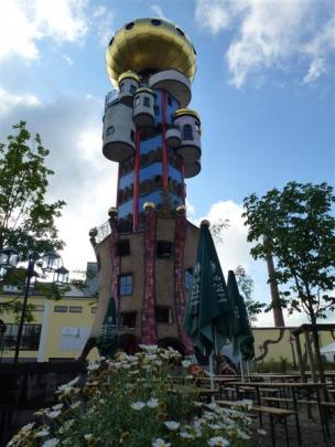 The Beer World tower in Abensberg - Friedensreich Hundertwasser's colourful Kuchlbauers Bierwell,...