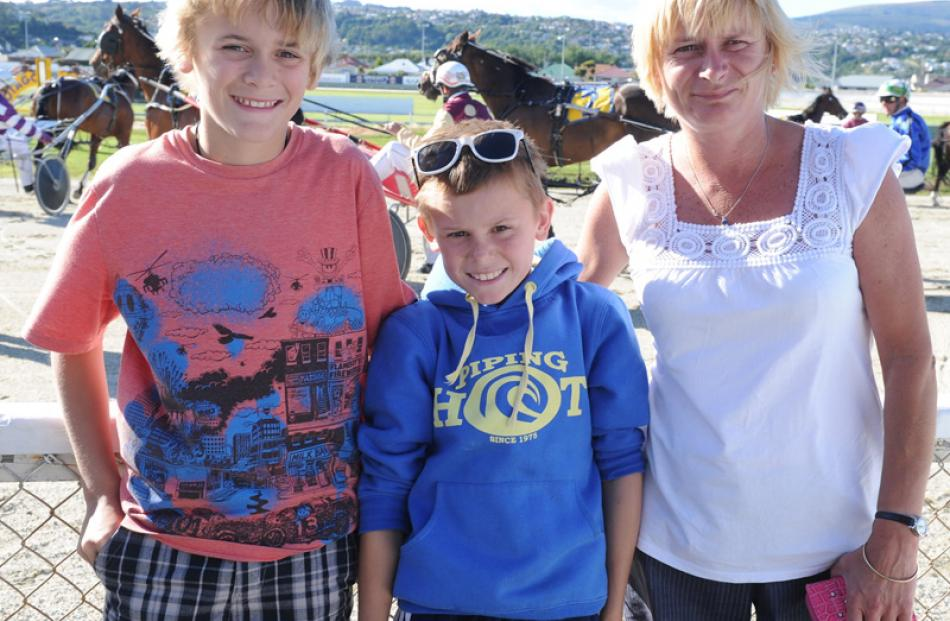 Jack (13) and Ricky Cannon, from Melbourne and their Aunty Maria Carvalho, of Dunedin.