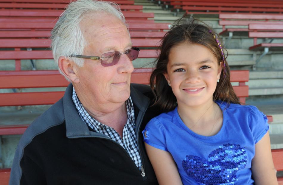 Neville Davidson and grand daughter Kiri Davidson (8), of Dunedin.