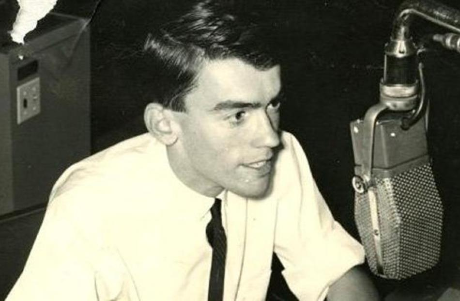 A 17-year-old Jim Sullivan on air in his first job at 3ZC in Timaru. Photo by South Canterbury...