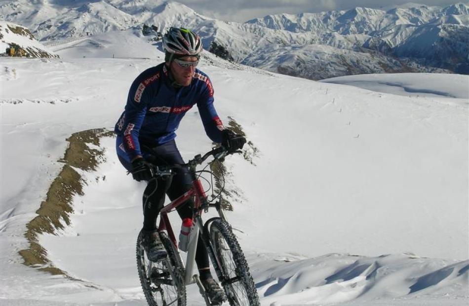 Competing in the demonstration sport of winter triathlon at the Winter Games at the Snow  Farm in...
