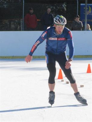 Gavin Mason nears the end of the Alexander Winter Ice Triathlon he won in 2010. Photo by Colin...