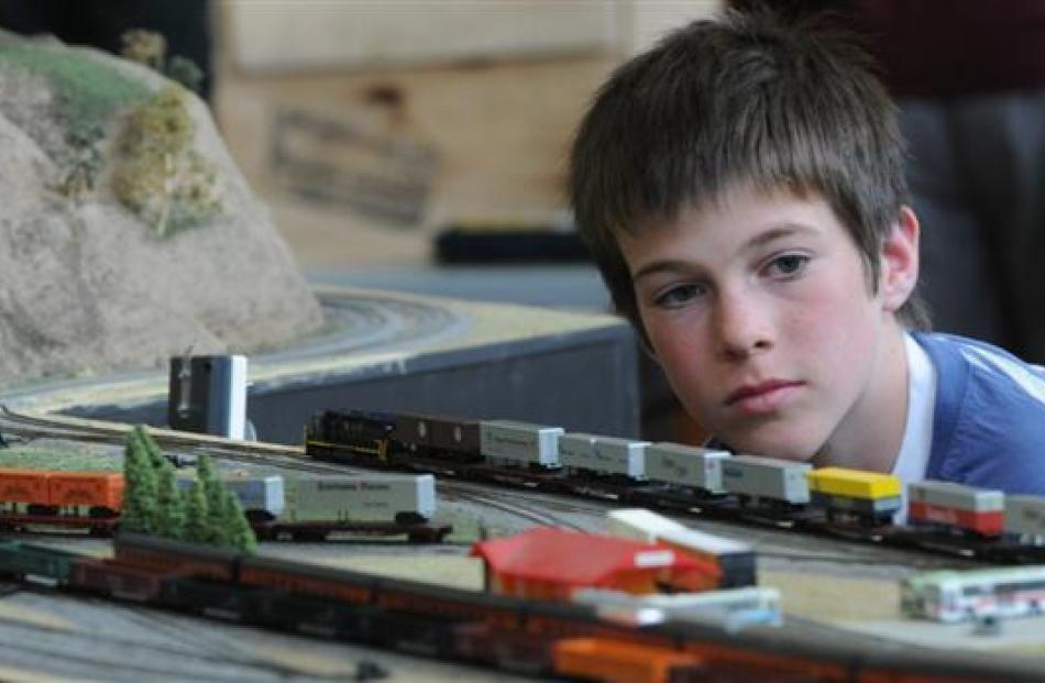 Thomas Kissell (12), of Timaru, takes a closer look.