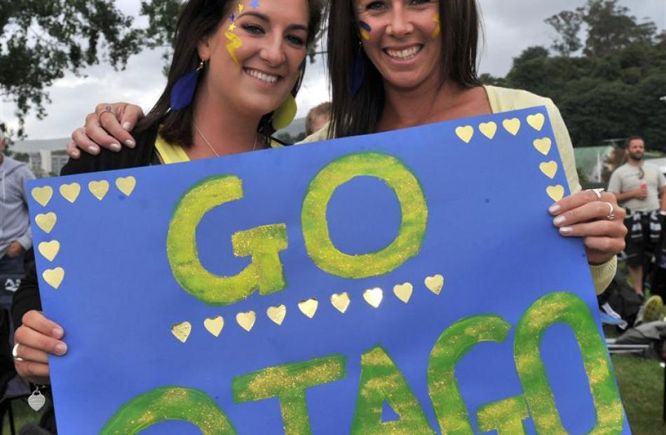 Clare Carvalho (left) and Anna Boyd, both of Twizel, show their support.