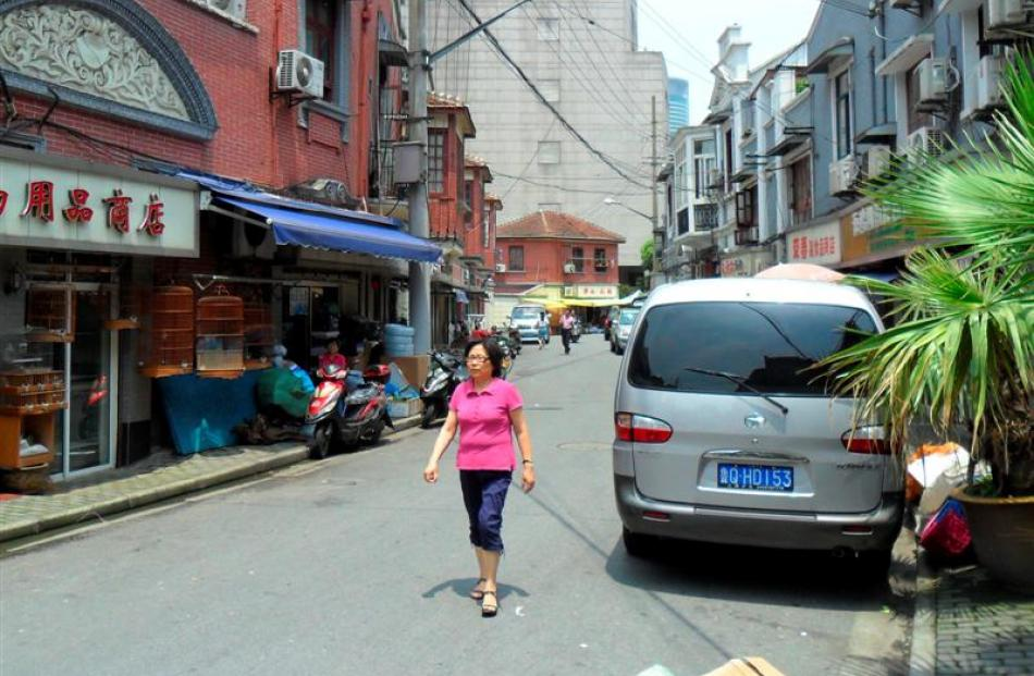 An early morning stroll through a residential area of  Shanghai.