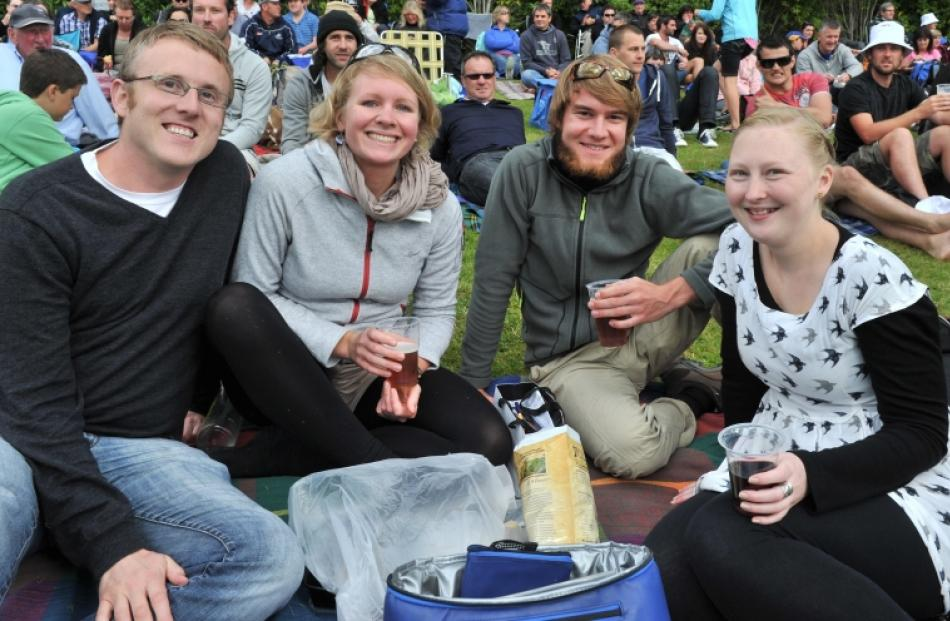 Paul Murray, of Dunedin, Lotte Bierdel and Sebastian Manz, of Germany, and Danielle Visser, of...