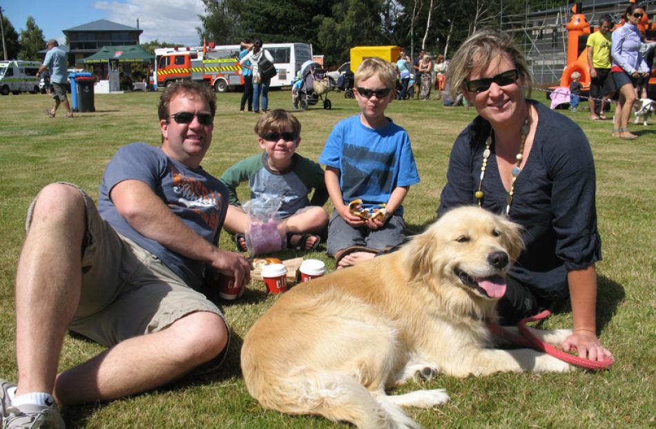 Karl, Luke (6), Will (8), Sarah Andrews and dog Ruby, of Dunedin.