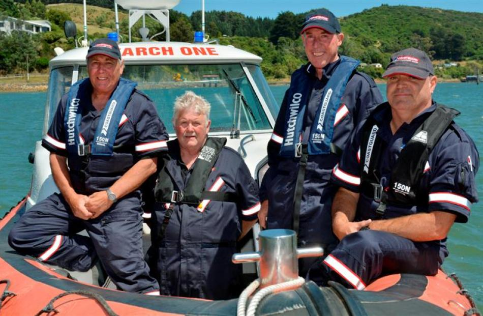 Coastguard Dunedin crew (from left) president Lox Kellas, Kevin Phillips, Warren Morris and Rick...
