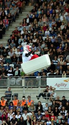 Chris Haffey rides in a chilly bin at Forsyth Barr Stadium last night.