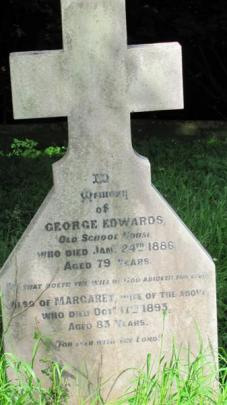 The grave of Brent Edwards' great-great grandfather, George Edwards.