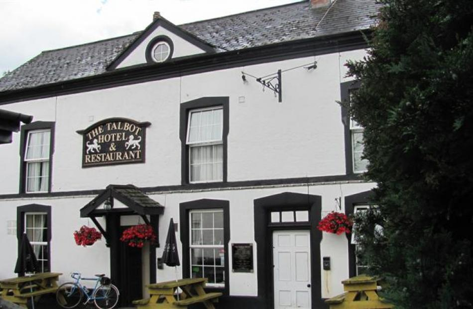 The Talbot Hotel, one of the main hubs of activity in the Welsh village of Berriew.