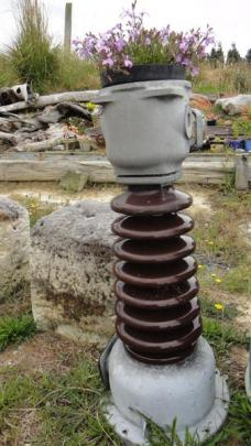 An old insulator becomes a plant pot for cascading lobelia. Photos by Pam McKinlay.