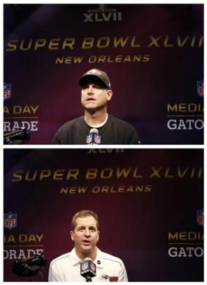 San Francisco 49ers head coach Jim Harbaugh (top) and Baltimore Ravens head coach John Harbaugh...