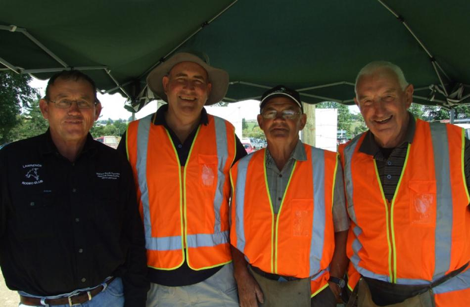 Eddie Fitzgerald of Lawrence, Murray Paterson of Waitahuna, Justin Wilson of Lawrence, and Sandy...