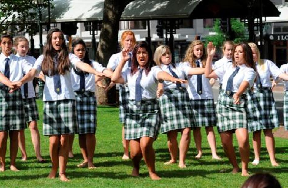 Bayfield High School's kapa haka group greets  Dunedin's new neurosurgeons to the city in the...