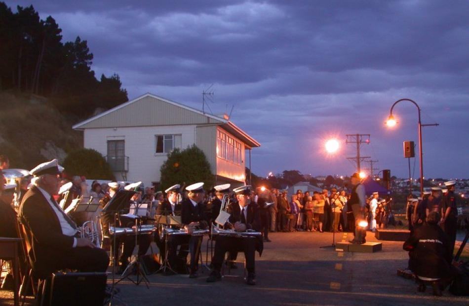 The Oamaru Garrison Band gets ready to perform at the Oamaru Harbour for the re-enactment of the...