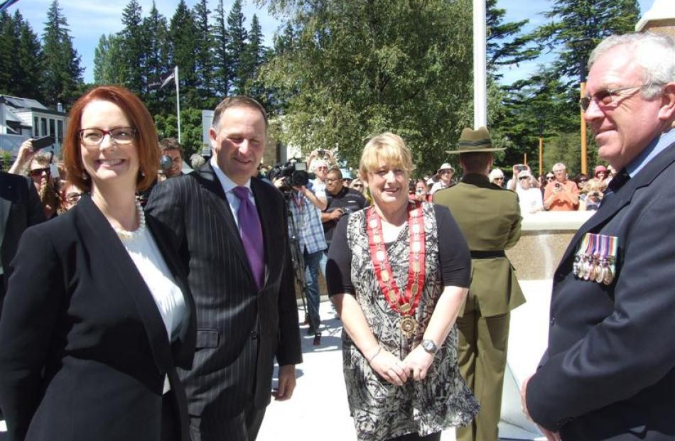 Ms Gillard, Mr Key, Queenstown Lakes  Mayor Vanessa van Uden and Returned and Services'...