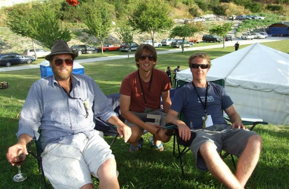 Black Seeds artists chilling out before their night performance, from left; Tim Jaray, Barrett...
