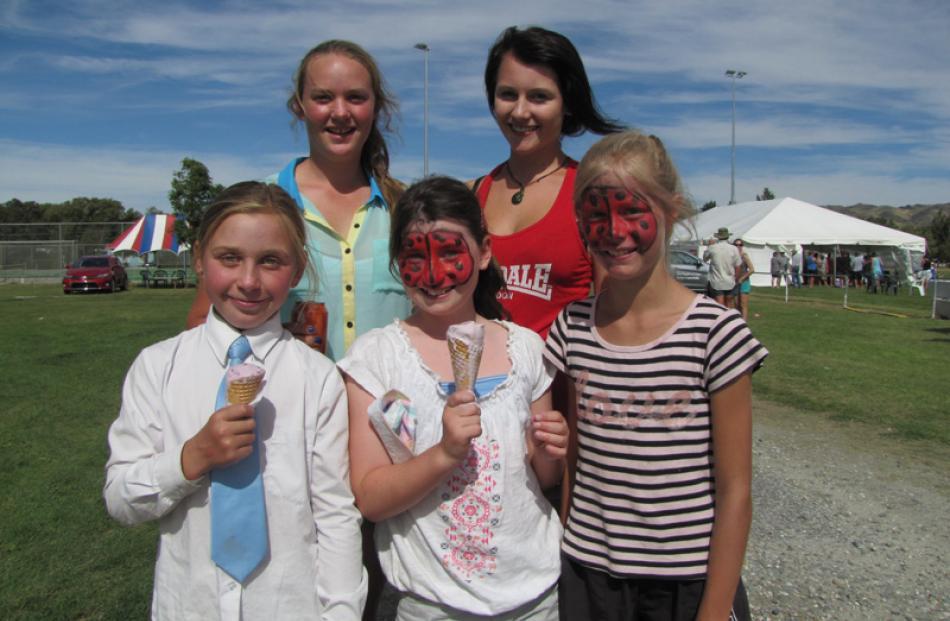Lucy Harrex (10) of Alexandra, Alannah Stalker (15) of Wanaka, and Hannah McCulloch (10),...