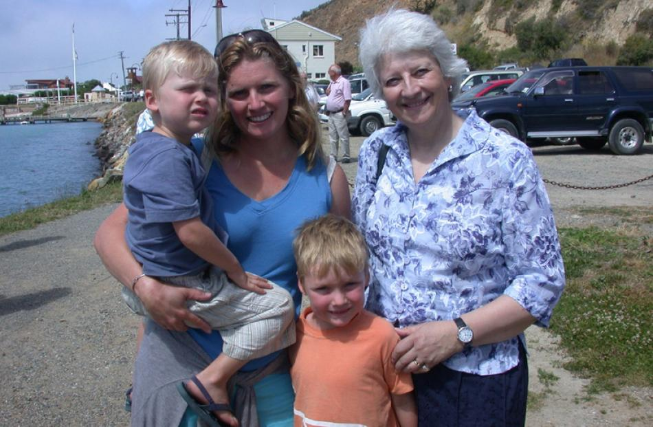 Oliver (4), Carol and Scott (6) Wyeth, of Wanaka, with Mrs Wyeth's aunt, chairwoman of the United...