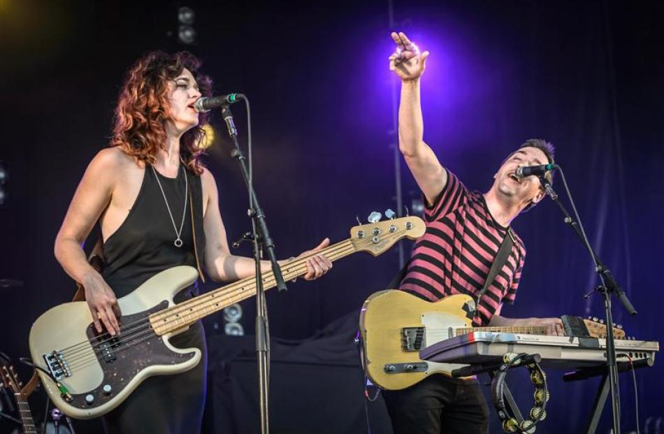 Jon Toogood and Julia Deans perform as the Adults at Matakana. Photo by Steve Dykes.