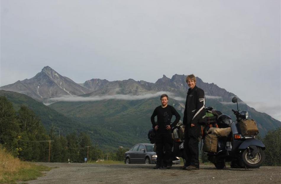 Tim Munro (left) and Stephen Hogg prepare to leave Alaska at the start of their year-long...