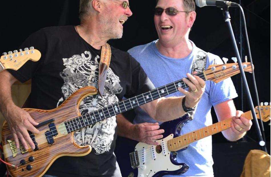 Bass player Steve Bourne, of Waitati, and guitarist John Garbutt, of Dunedin, from rock and blues...