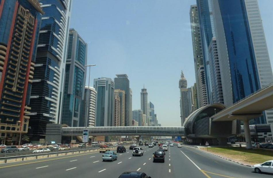 The main highway through downtown Dubai City. Photo by Neville Peat.