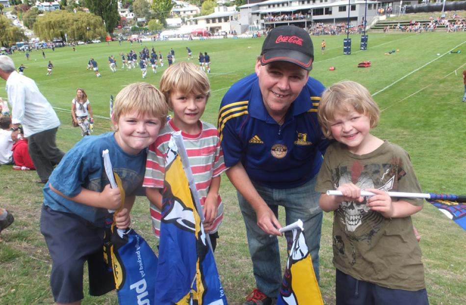 Issac Swain (7), Maddox Newell (7), Dean Swain and Daniel Swain (8), all of Queenstown.