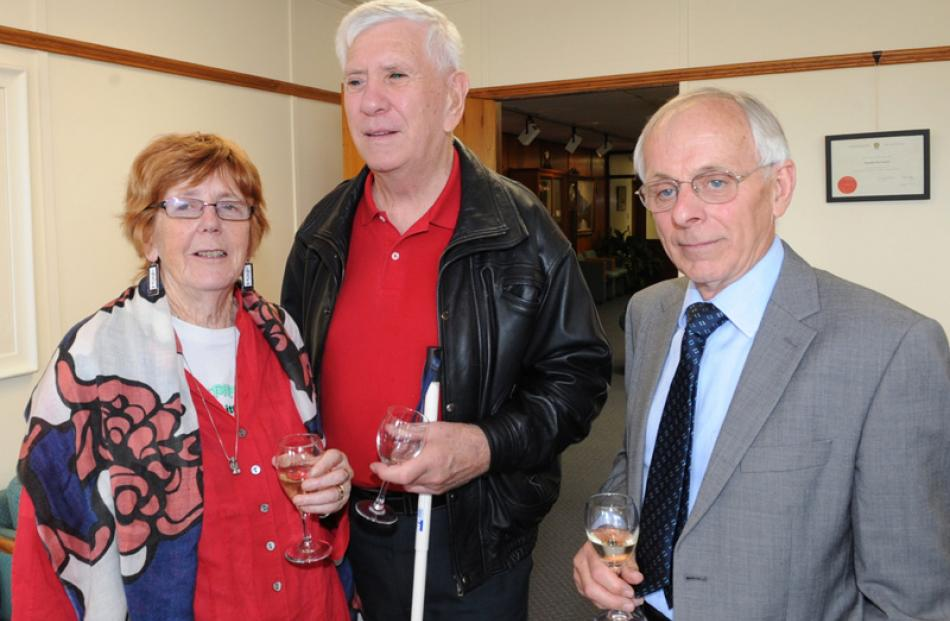 Denise Walsh MNZM and her husband, Peter Neville, of Dunedin, and Geoff Neilson MNZM, of Mosgiel.