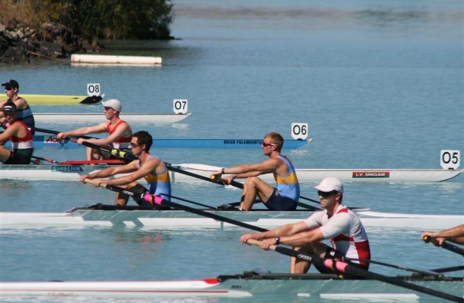 Otago University men's senior pair of Andrew Annear (left) and TJ Leeming, in lane 4 (in light...