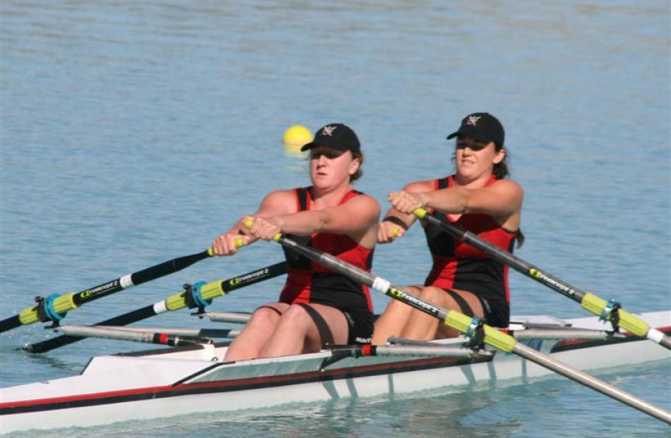 The North End women's novice double sculls of Lola Gardyne (left) and Emma Wallace finish third...