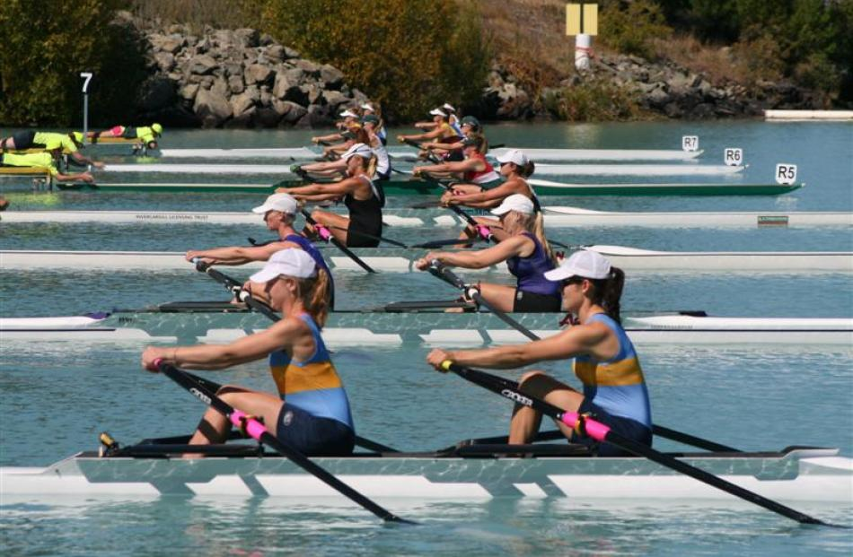 The Otago University club double sculls of Caitlin Buist (left) and Nicola Shanks (in light blue...