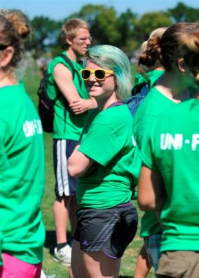 Hannah Twigg (20) got behind the University Flats team by dyeing her hair green.