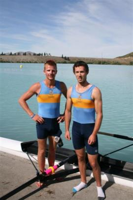 The Otago University senior pair of Andrew Annear and TJ Leeming after finishing second in their...