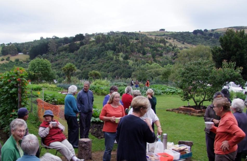 The Dunedin Vegetable Club and NEV Community Garden members chat over a cuppa during the club's...